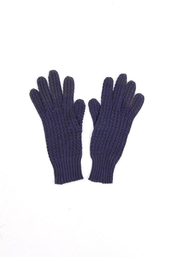 Navy Blue Knit Gloves Women's Lady Astra Gloves 100% Cotton Made in Italy Size Small