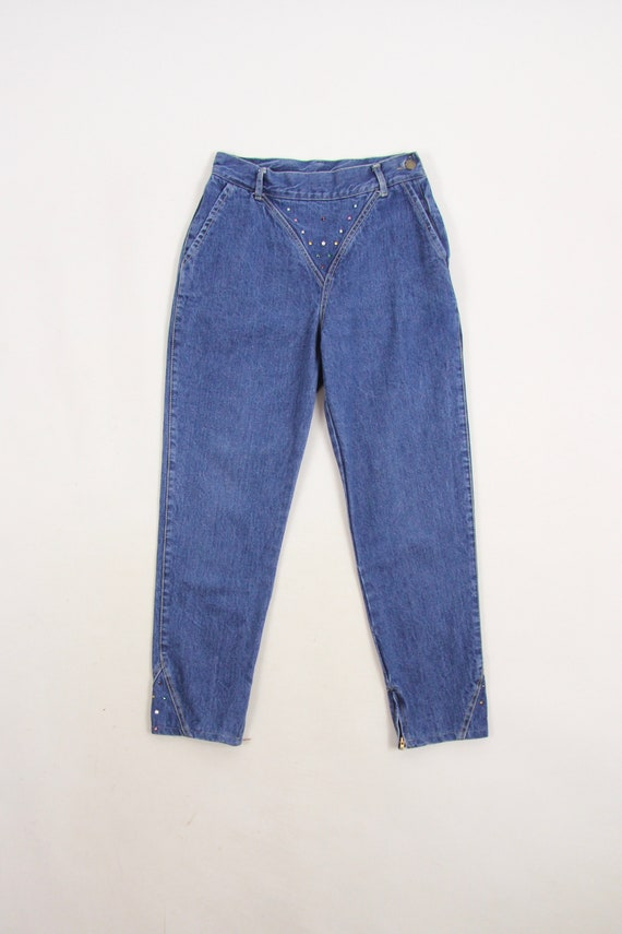 80's Women's Jeans High Waisted Side Zip Bejeweled