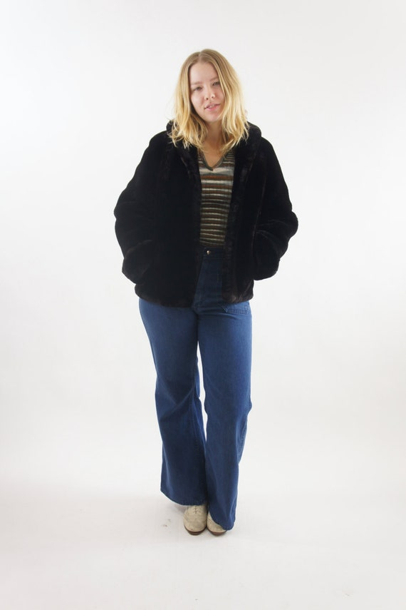 Women's Medium Faux Fur Coat Chocolate Brown Very Soft Vintage Unique Warm Winter Jacket