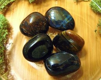 Blue Tigers Eye, Hawk's Eye, 1 Medium Tumbled Stone