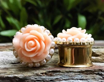 ALMOST GONE! Peach Rose and Pearl Plugs, gauges    5/8, 3/4