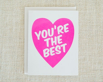 You're the Best Card, Valentine Cards, Valentine's Day, Love Card, Anniversary Card, Wedding Card, Neon Pink, Friend Gift