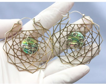 with silver post with abalone inlay Large brass or silver plated brass Mandala hoops earrings price per pair