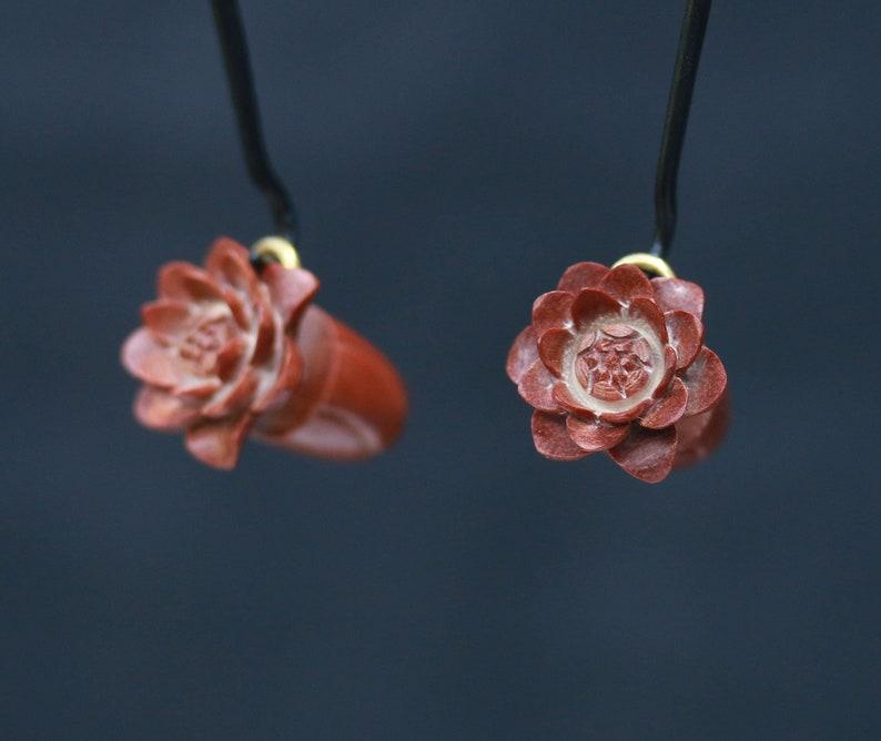 hand made lotus  water lily crocodile wood or saba wood price per pair Split plugs
