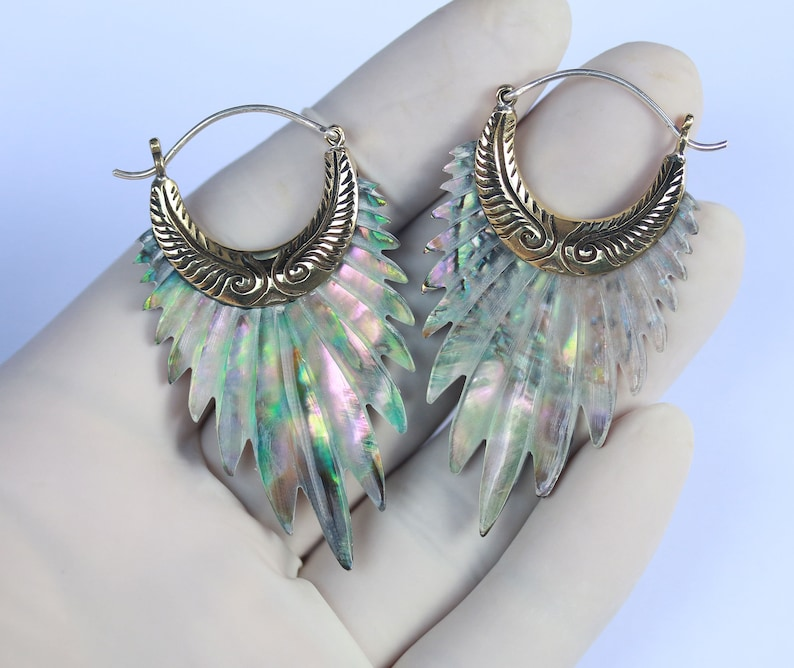 hand carved abalone with brass and silver post price per pair Angel Wings Earrings