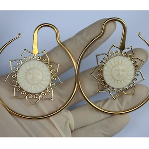 hand made tribal jewelry 3 mm  8G Moon Face cow bone and brass ear weights price per pair