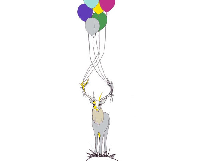 Limited Edition Giclee Print - Deer & Balloons.