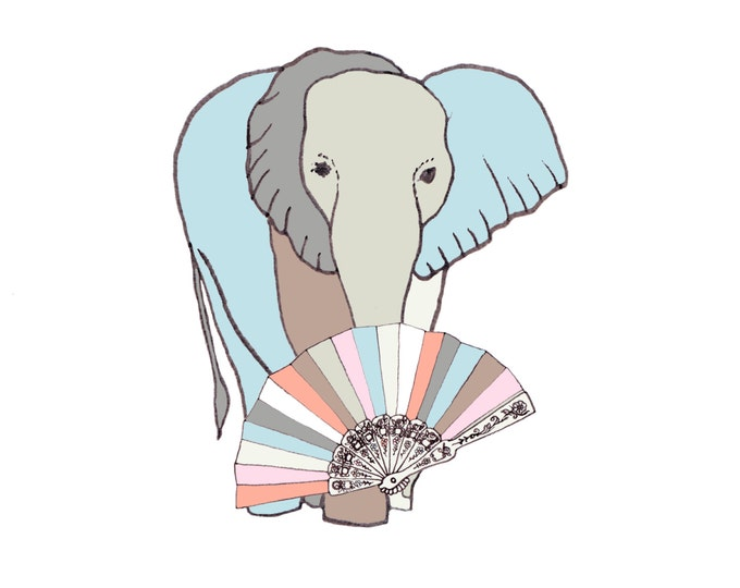 Greetings Card - Elephant and Fan.