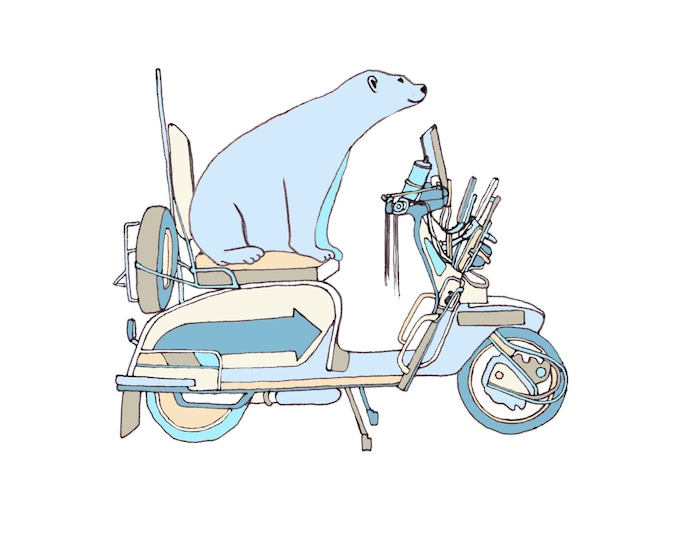 Greetings Card - Polar Bear on a Bike.
