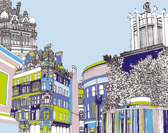 Limited Edition Giclee Print - Claremont Buildings, Emerson Chambers and Civic Centre, Newcastle.