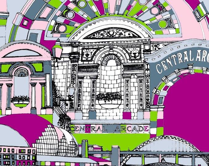Limited Edition Giclee Print - Central Arcade, Sage and Tyne Bridge, Gateshead and Newcastle.