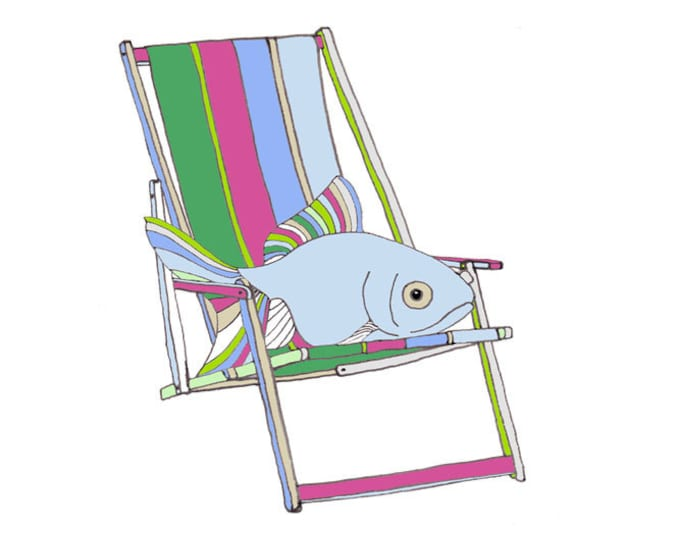 Limited Edition Giclee Print - Goldfish in a Deck Chair.