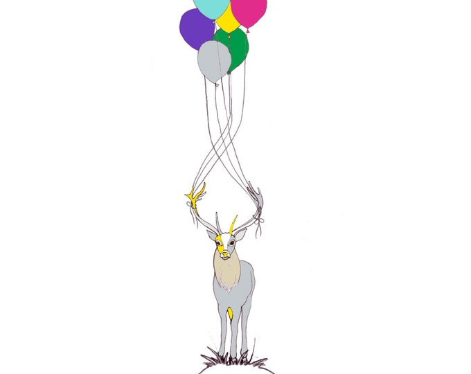 Greetings Card - Deer and Balloons.