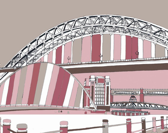 Limited Edition Giclee Print - Bridges of the Tyne and Baltic, Gateshead and Newcastle (pink.)