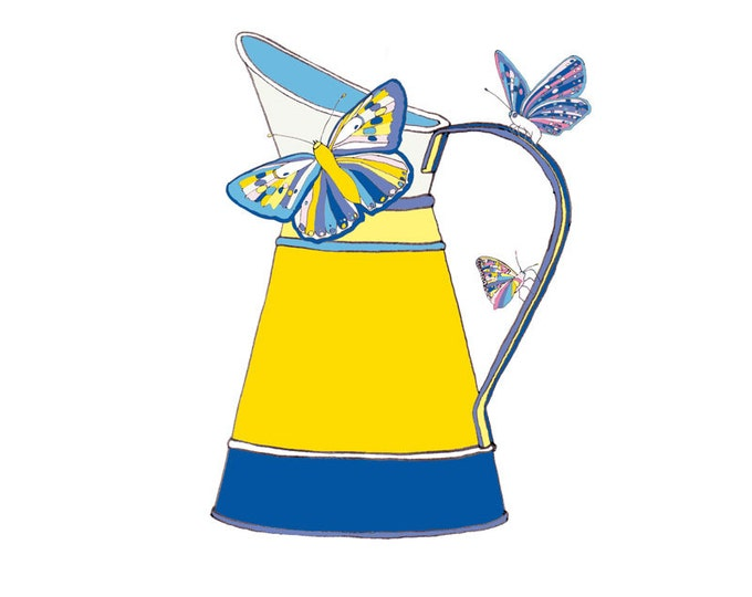 Limited Edition Giclee Print - Butterflies on Vintage Milk Jug.