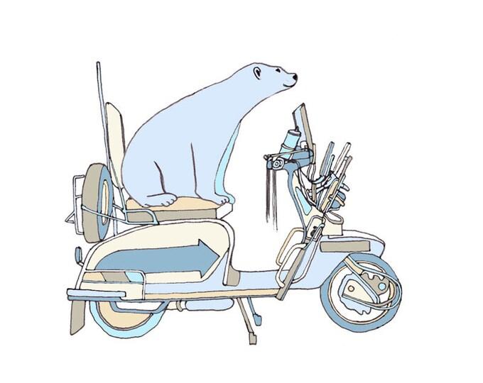 Limited Edition Giclee Print - Polar Bear on a Bike.