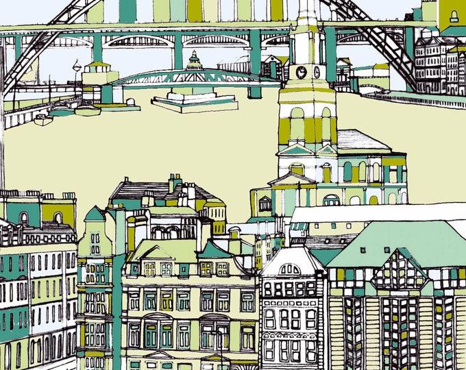 Limited Edition Giclee Print - Tyne Bridge, All Saints Church and Quayside, Newcastle.
