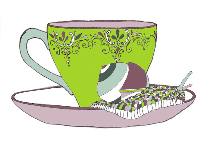 Limited Edition Giclee Print - Snail & Tea Cup.