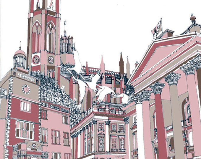 Limited Edition Giclee Print - Church, University, Theatre Royal & Civic Centre Swans, Newcastle.