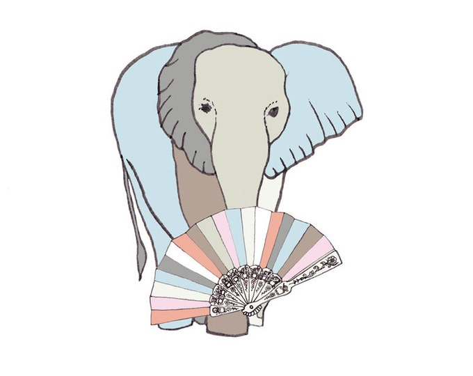 Limited Edition Giclee Print - Elephant with Fan.