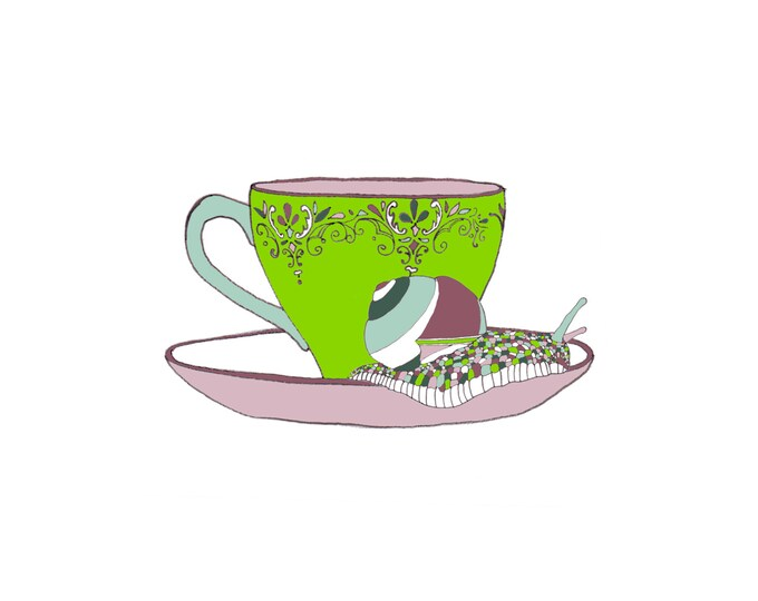 Greetings Card - Snail on a Teacup.