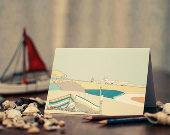 Art / Greeting Card - Dunstanburgh Castle with Sheep and Boats.