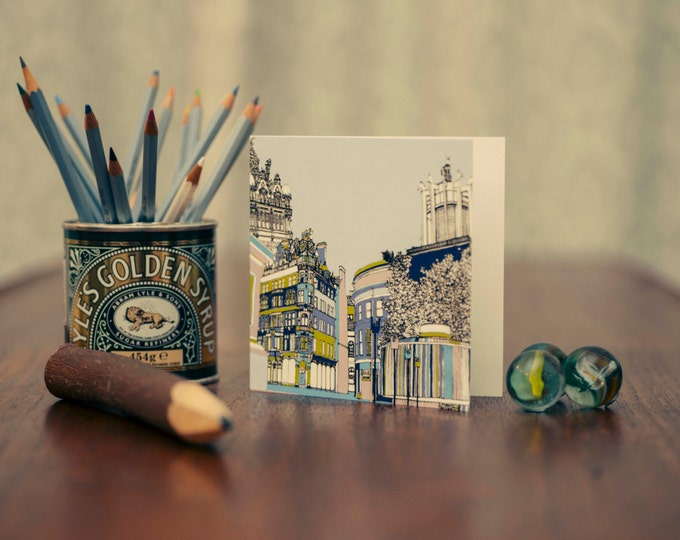 Art / Greetings Card - Claremont Buildings, Emerson Chambers & Civic Centre, Newcastle upon Tyne.