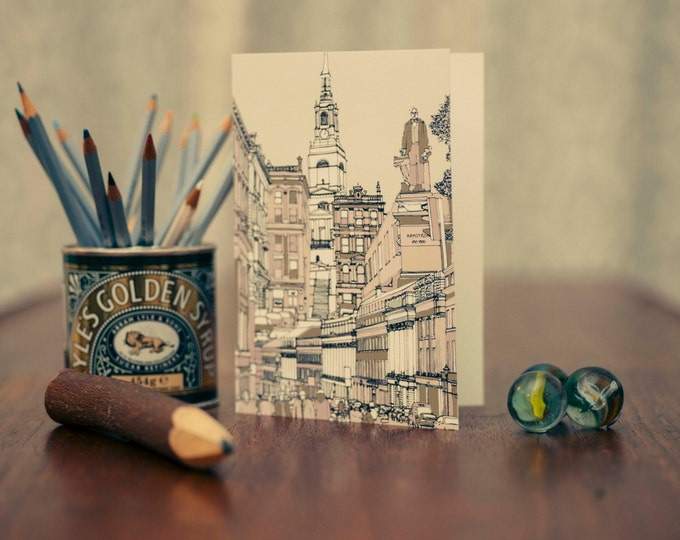 Art / Greeting Card - Grey Street, All Saints Church & Statue of Lord Armstrong, Newcastle.