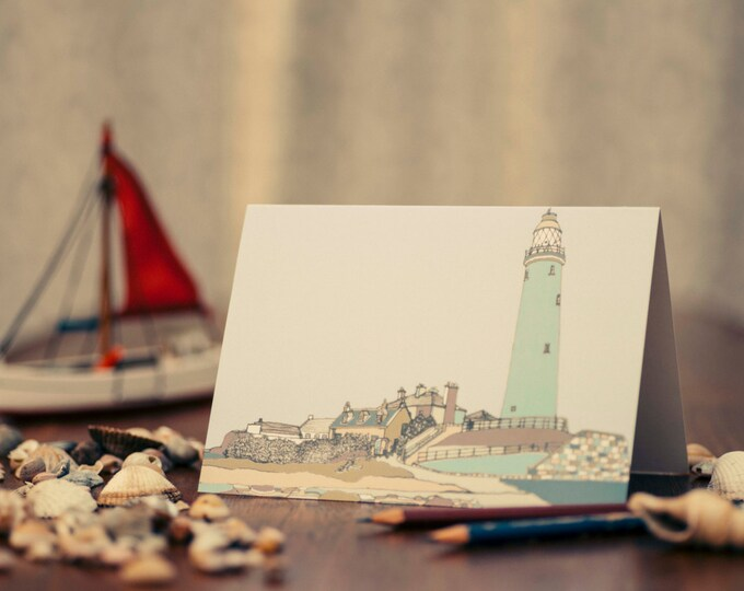 Art / Greeting Card - St Mary's Lighthouse.