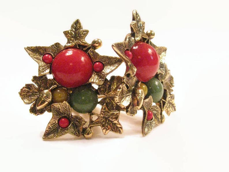 Leaves and Berries Earrings 1928 Company Leaf Clusters image 0