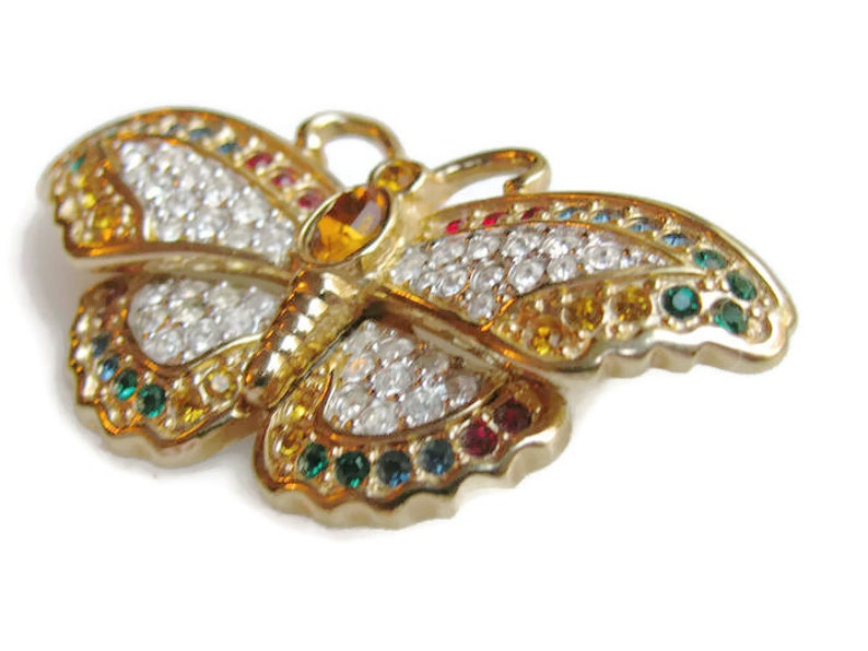 Swarovski Butterfly Brooch Clear and Colored Crystals Gold image 0