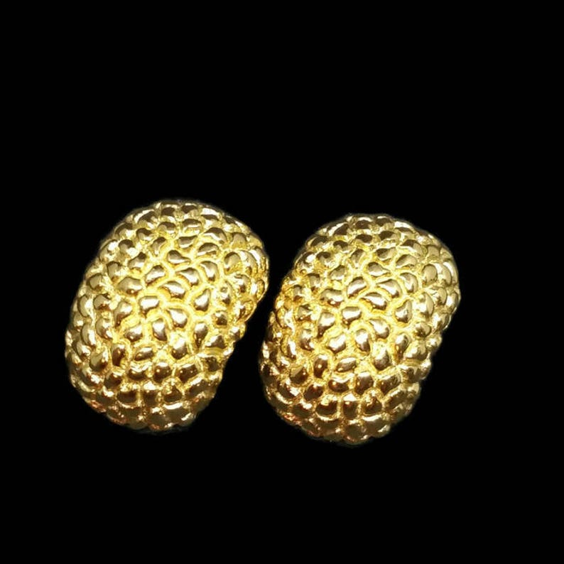Gold Christian Dior Earrings Gold Plated Nugget Style image 0