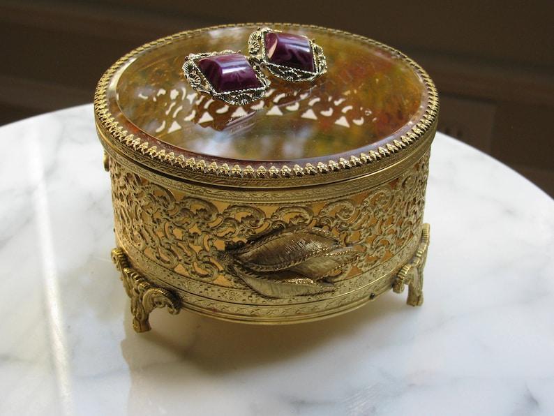 Gold Filigree Jewel Box Hollywood Regency  Tufted Velvet image 0