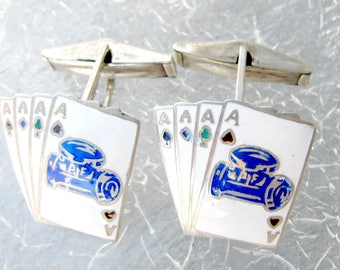 Four Aces Cufflinks, Sterling Silver,  Blue Logo P F, Pipe Fitter , Vintage Siam Silver, Enamel, Playing Cards, Poker Cuff Links