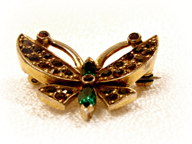 Jomaz Butterfly Scatter Pin Gold Plated with Topaz and Green image 0