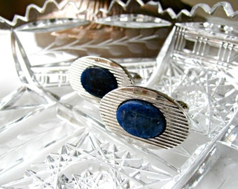 Silver and Blue Cuff Links, Faux Lapis, Vintage Dante Cufflinks, Ribbed Silver Oval Setting, Diamond Cut Edges, Wedding, Something Blue, Tux