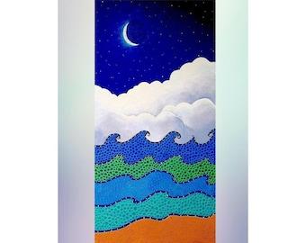 Seascape Original Painting Canvas Painting Beach Decor Modern Art Blue Clouds