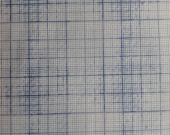 Graph Paper by Tim Holtz Eclectic Elements Correspondence/Square Grid Paper in Blues and Greys/Various Sized Squares/Math/HALF YARD Pricing