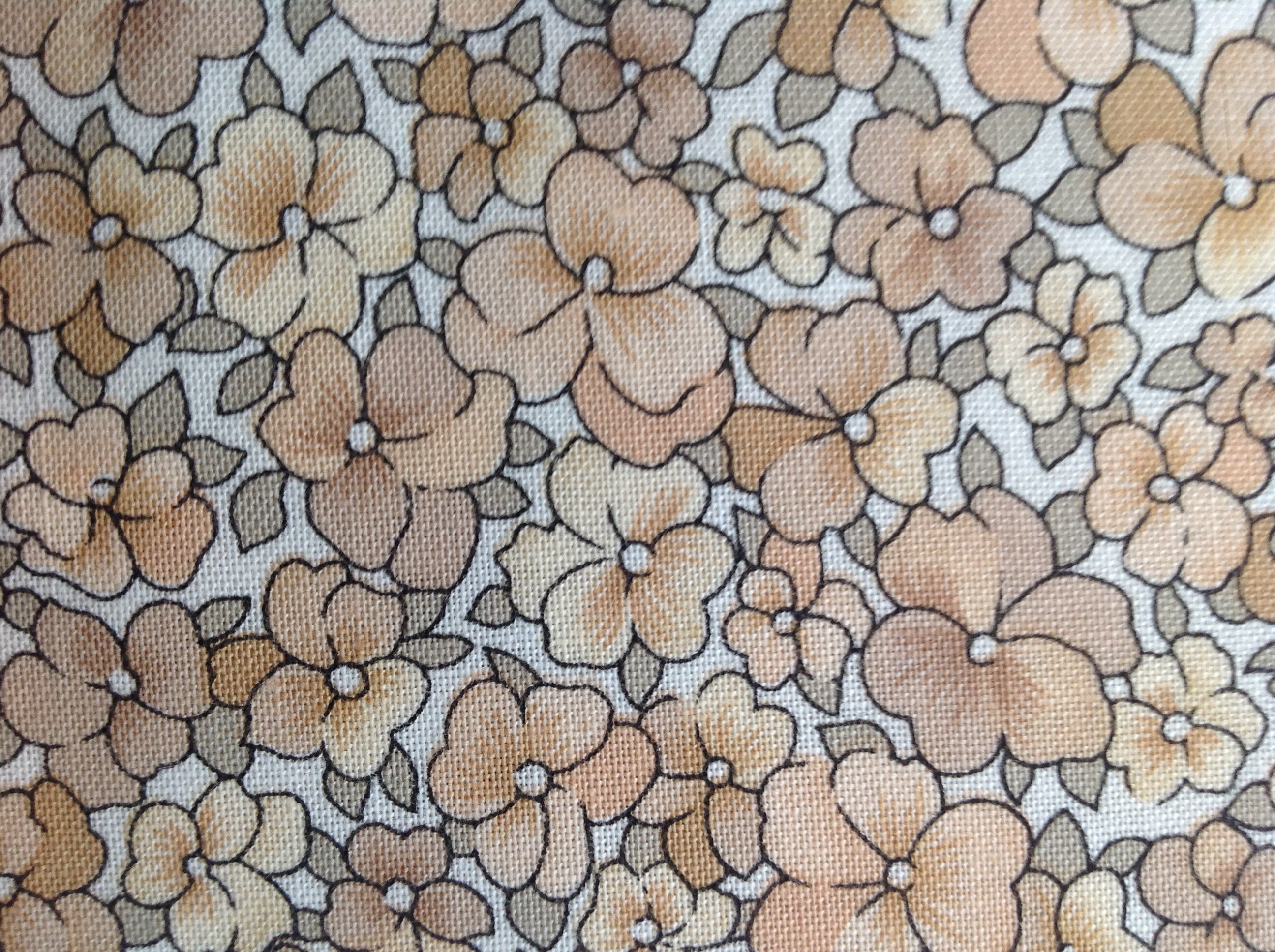 466bff466d61b Bed of Posies by Benartex Fabrics/Vintage Quilting Sewing Fabric/Small  Scale Floral Print/Grey Cream Camel/1.5 Yards/One 54