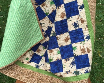 Baby Quilt/Funky Frogs/Green/Blue/Brown/Baby Shower/Modern/Layette/Shower Gift/Tummy Time/Crib Quilt/Frogs/Little Boy