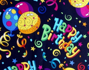 Happy Birthday by Hi-Fashion Fabrics/Balloons Stars Ribbons Confetti on Black/Quilting Sewing Craft Fabric/HALF Yard Pricing