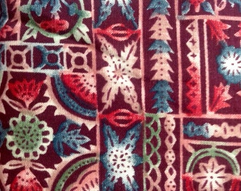 Block Print by VIP for Cranston Printworks/Vintage Quilting Sewing Craft Fabric/HALF Yard Pricing