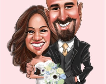 Custom Wedding Caricatures illustration for Wedding invitations/ Save the date/ guests sign in board/ Chevron/ Couple Portrait