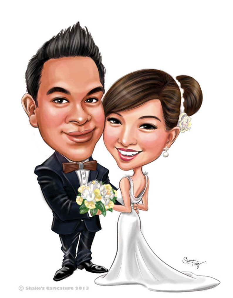 f7b136350827 Personalizzato matrimonio caricature   per invito salva la