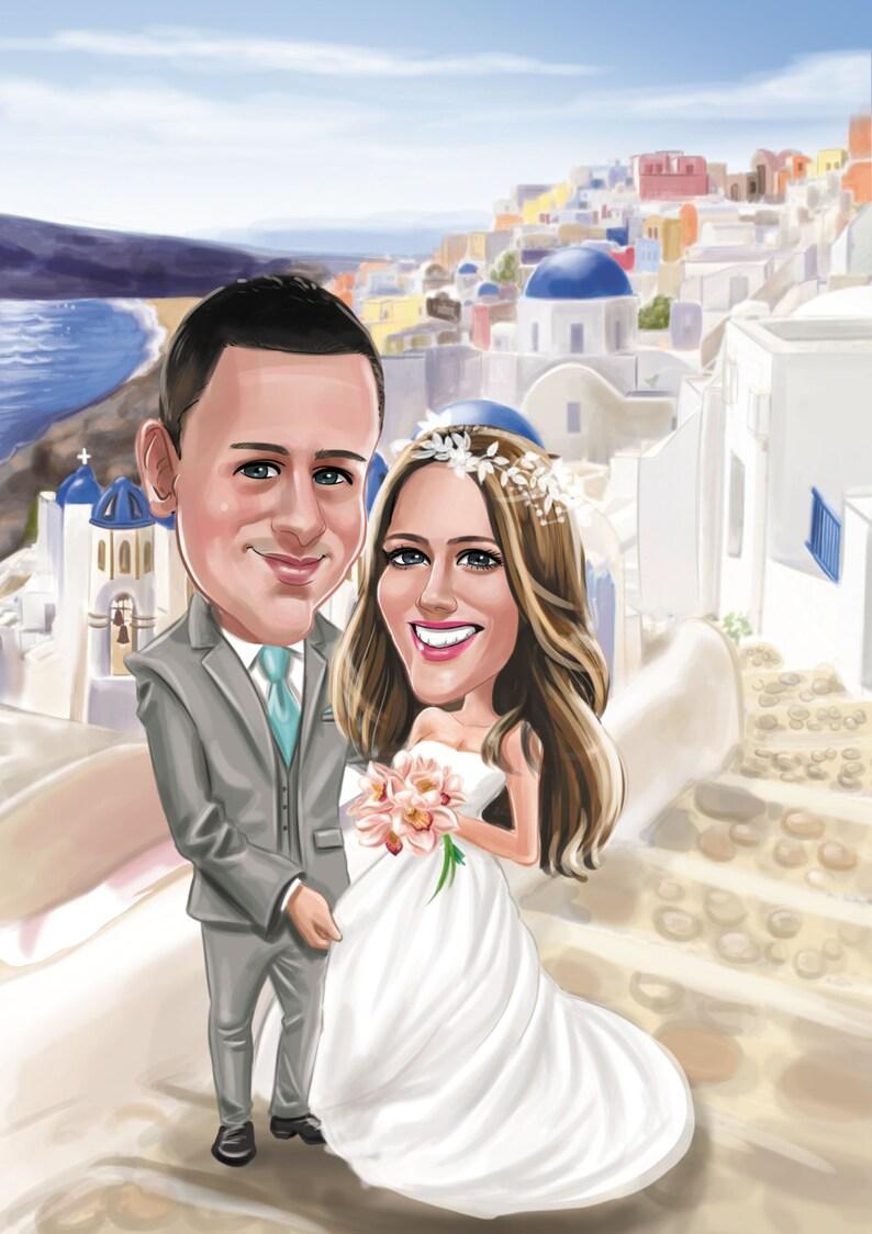 Wedding caricature Custom /& Personalized Wedding Cartoon Portrait Caricatures Unique Gifts Illustration