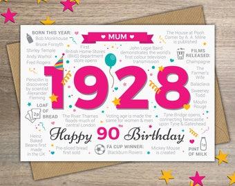 Happy 90th Birthday MUM Greetings Card