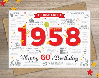 a5370c79dfc to My Husband on Your 60th Birthday! - A5 Greetings Card Finger prints