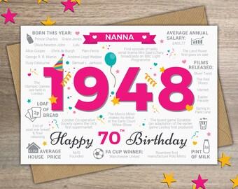Happy 70th Birthday NANNA Greetings Card