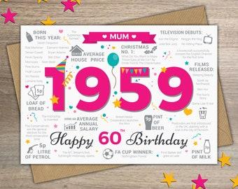 Happy 60th Birthday MUM Greetings Card
