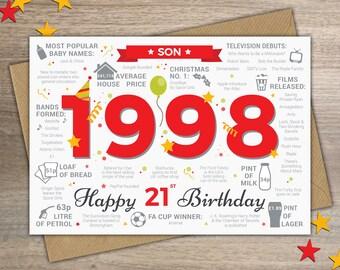 Happy 21st Birthday SON Greetings Card
